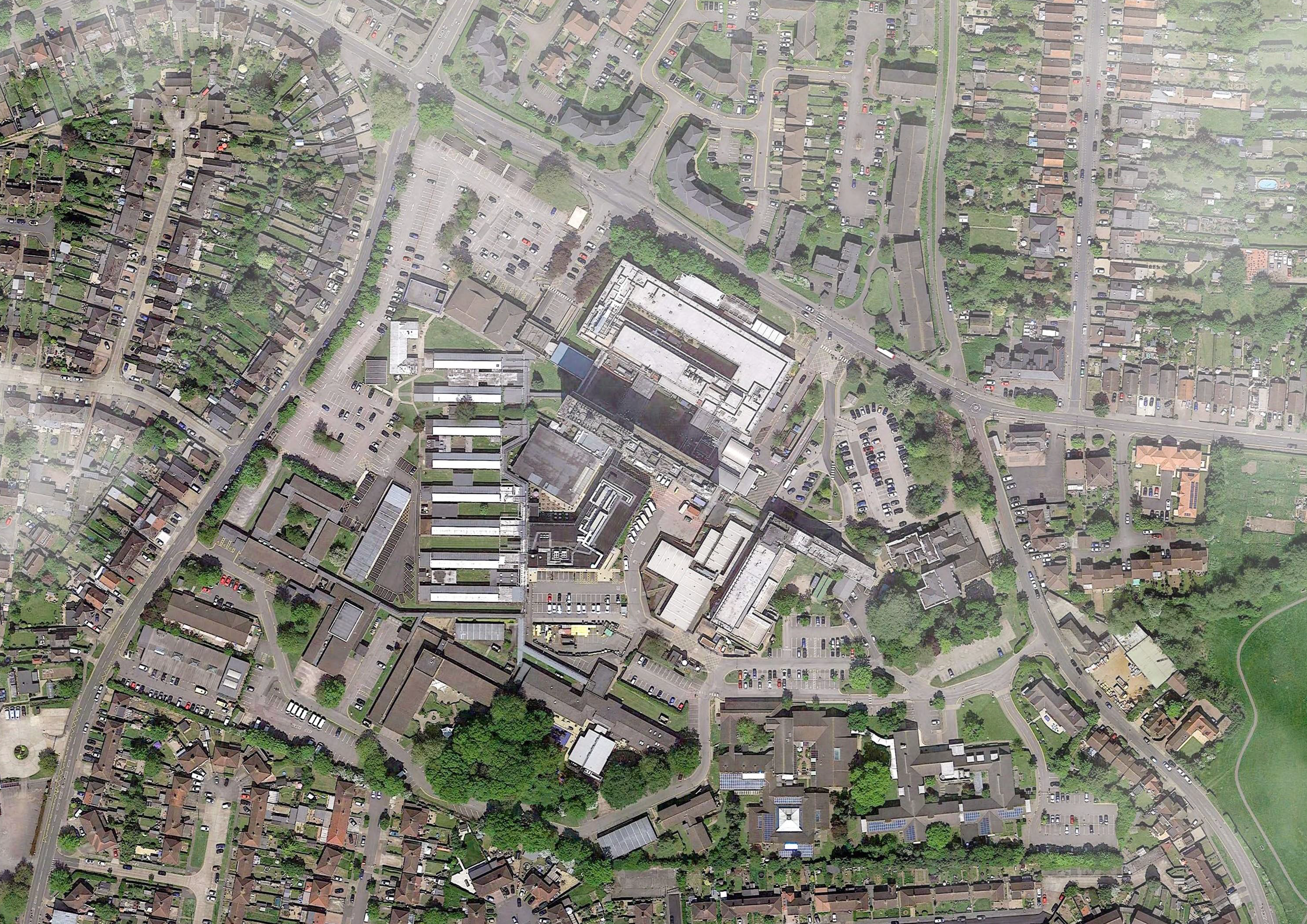 Aerial view of the current Hillingdon Hospital site
