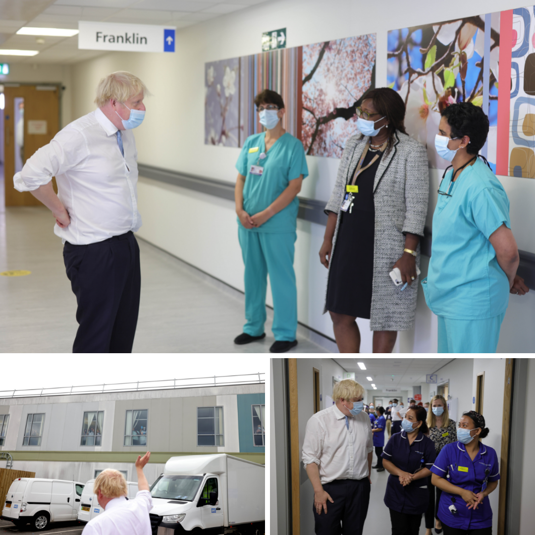 Images from Boris Johnson's visit to Hillingdon hospital on 12 August 2021